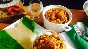 How to make Delicious Independence Eba and Egusi Bitter Leaf Soup